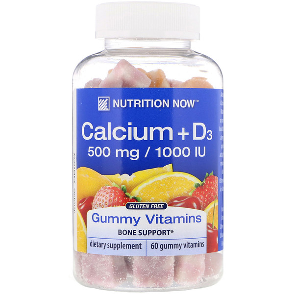 Nutrition Now, Calcium + D3 Gummy Vitamins, Orange, Cherry & Strawberry, 60 Gummy Vitamins (Discontinued Item)