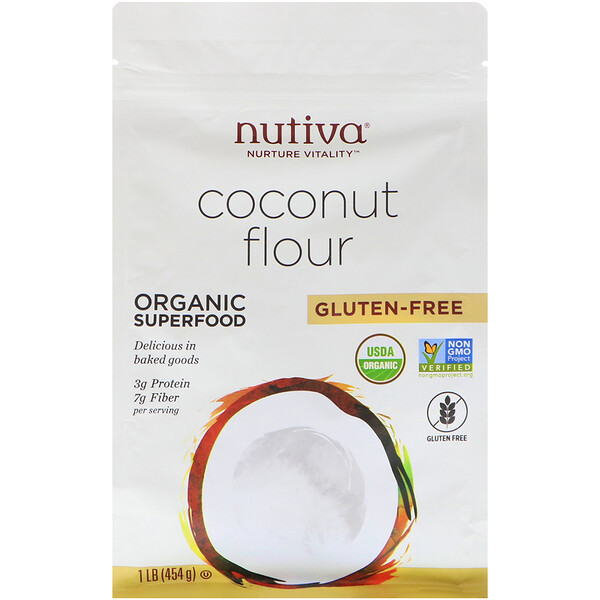 Nutiva, Органическая кокосовая мука, без глютена, 454г (1фунт)