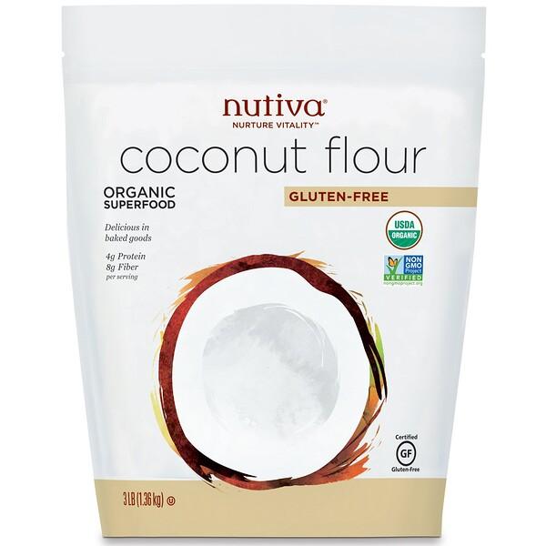 Органическая кокосовая мука, без глютена, 1,36кг (3фунта)