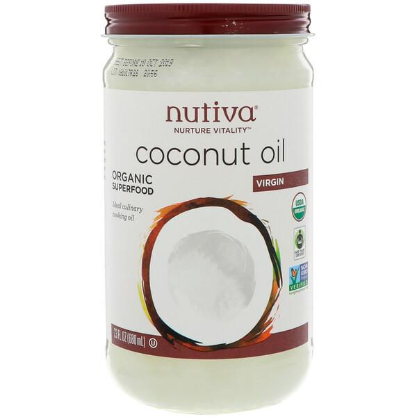 Nutiva, Органическое кокосовое масло, Virgin, 23 жидкие унции (680 мл)