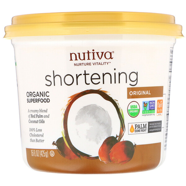 Nutiva, Органический кондитерскийжир, натуральный, с кокосовым и красным пальмовым маслом, 425г (15унций)