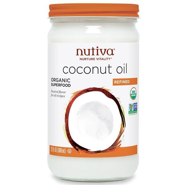 Органическое кокосовое масло, рафинированное, 23 жидких унций (680 мл)