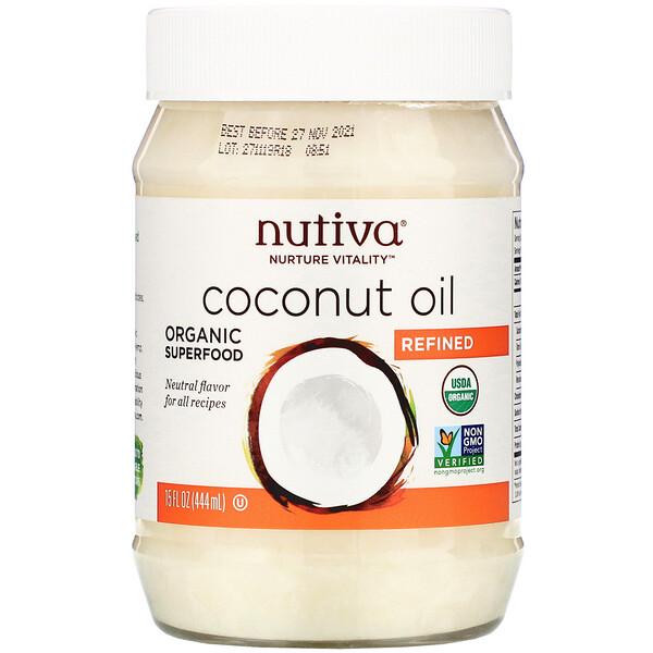 органическое кокосовое масло, рафинированное, 444 мл (15 жидких унций)