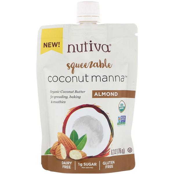 Nutiva, Органическое сжимаемое кокосовое масло, Coconut Manna, со вкусом миндаля, 176г (Discontinued Item)
