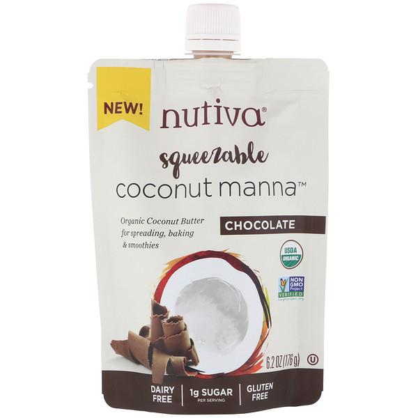 Органическое сжимаемое кокосовое масло, Coconut Manna, со вкусом шоколада, 176г