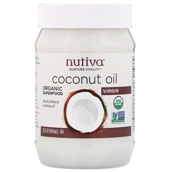 Nutiva, Органическое кокосовое масло, первого отжима, 444мл