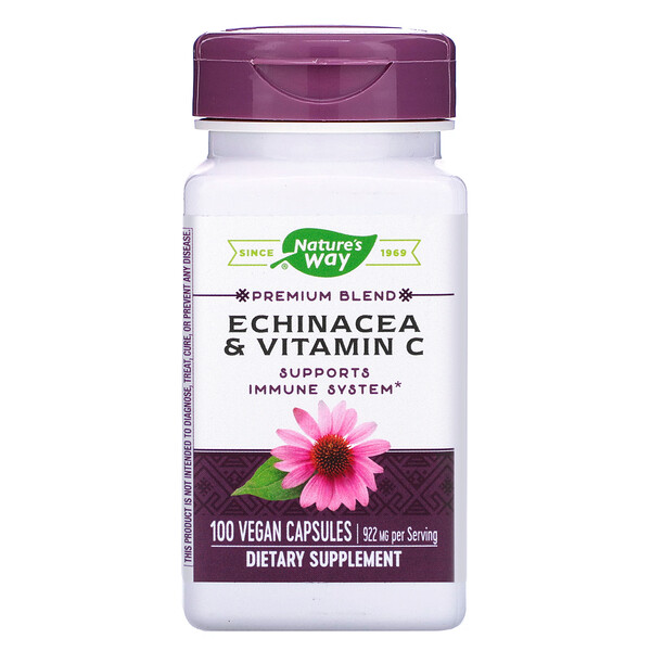Nature's Way, Эхинацея и витамин С, 922 мг, 100 веганских капсул