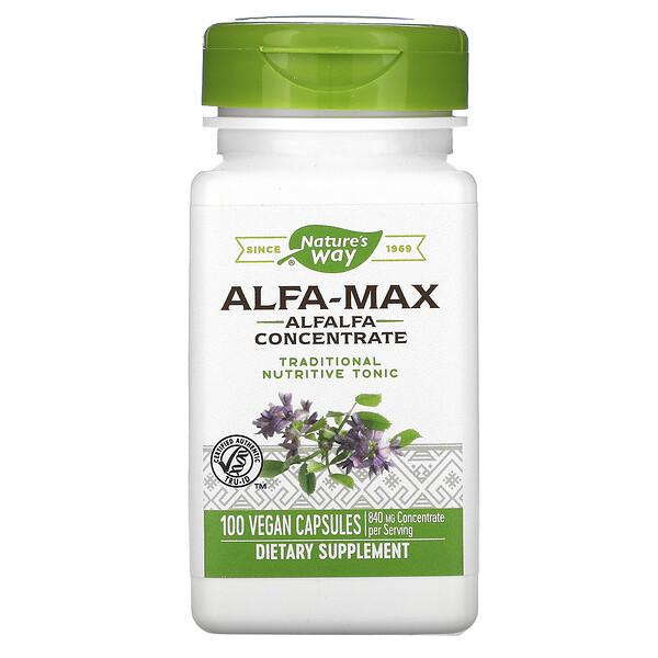 Nature's Way, Alfa-Max, Alfalfa Concentrate, 840 mg, 100 Vegan Capsules