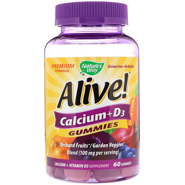 Nature's Way, Alive!, кальций и витамин D3, 60 жевательных конфет