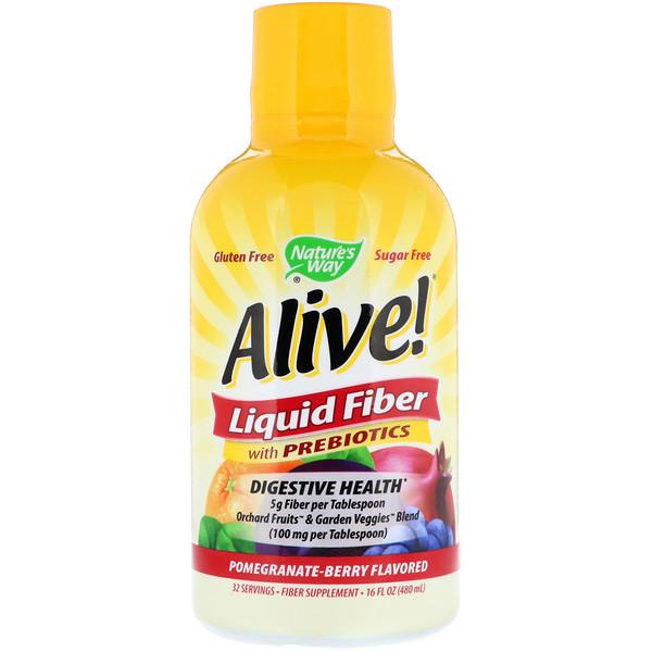 Alive!, клетчатка с пребиотиками в жидкой форме, со вкусом граната и ягод, 16 ж. унц. (480 мл)