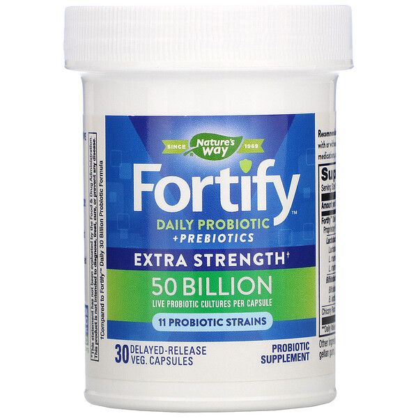 Nature's Way, Fortify Daily Probiotic + Prebiotics , Extra Strength, 50 Billion, 30 Delayed-Release Veg Capsules (Discontinued Item)
