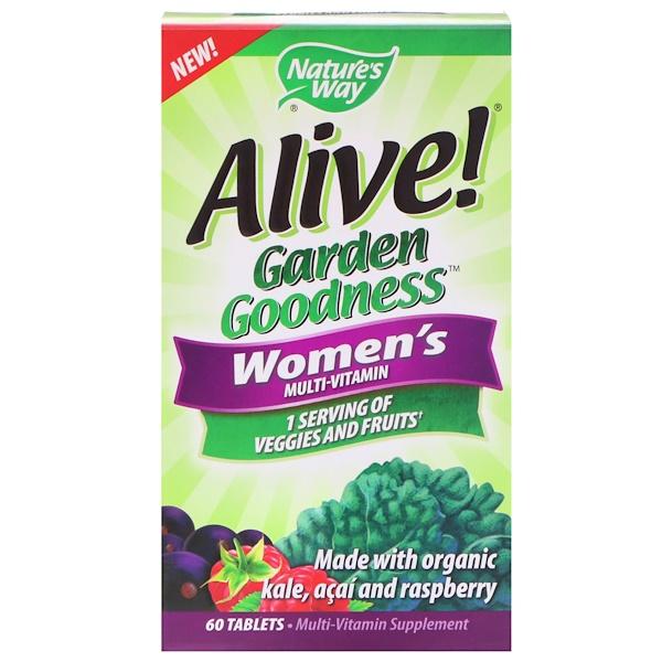 Nature's Way, Alive! Garden Goodness, мультивитамин для женщин, 60 таблеток