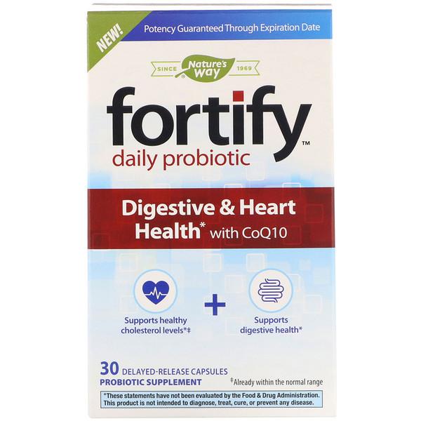 Fortify, пробиотик для ежедневного применения, здоровье пищеварительной системы и сердца, с коэнзимомQ10, 30капсул с отсроченным высвобождением