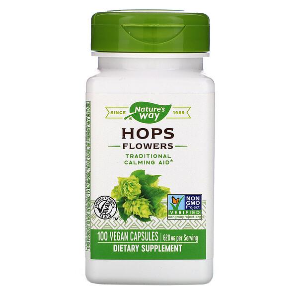 Hops Flowers, 620 mg, 100 Vegan Capsules