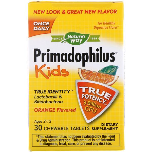 Primadophilus, для детей, со вкусом апельсина, 3 млрд КОЕ, 30 жевательных таблеток