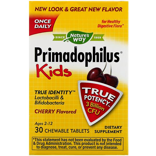 Primadophilus, для детей, со вкусом вишни, 3млрд КОЕ, 30жевательных таблеток