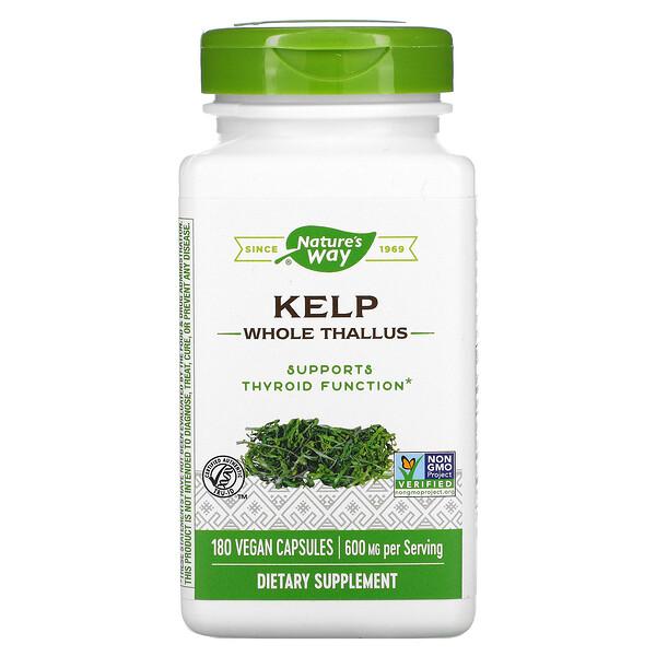 бурые водоросли, цельное слоевище, 600 мг, 180 веганских капсул
