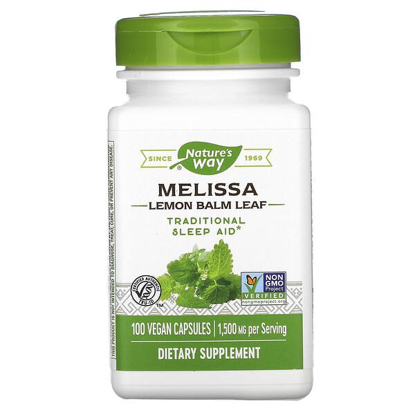 Nature's Way, Melissa, Lemon Balm Leaf, 1,500 mg, 100 Vegan Capsules