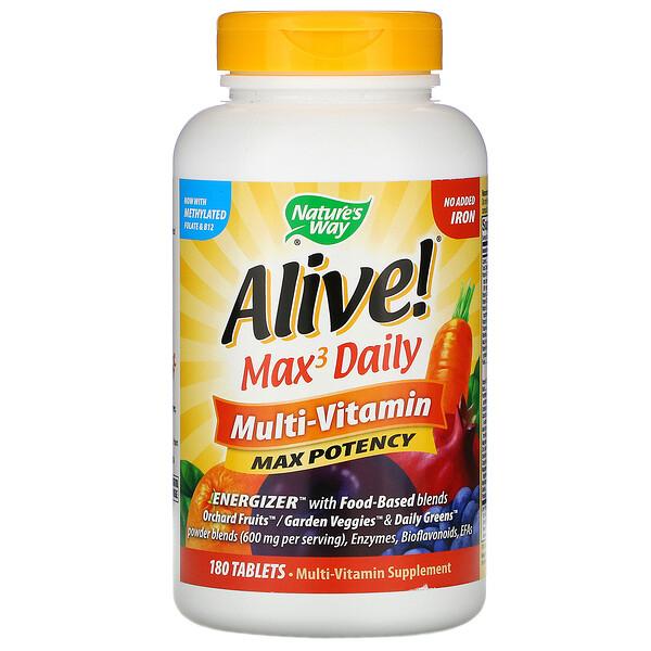 Alive! Max3 Daily, мультивитаминный комплекс, без добавления железа, 180таблеток