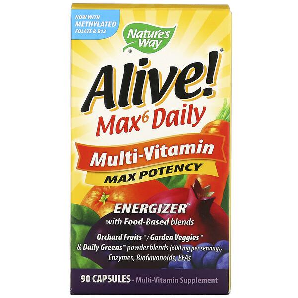 Alive! Max6 Daily, мультивитаминный комплекс, 90 растительных капсул