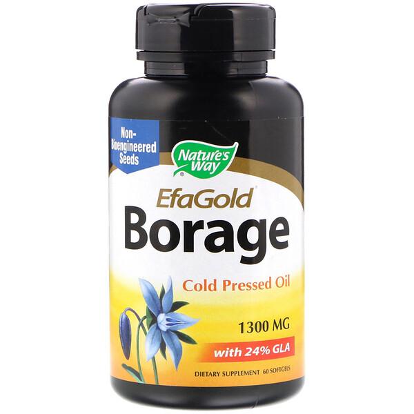EfaGold, огуречник, 1300 мг, 60 мягких желатиновых капсул