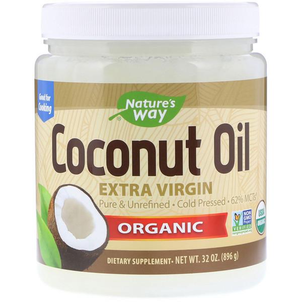 Органический продукт, Кокосовое масло, Первый холодный отжим, 32 унц. (896 г)