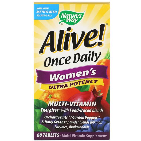 Alive! Once Daily, ультра-эффективные мультивитамины для женщин, 60таблеток