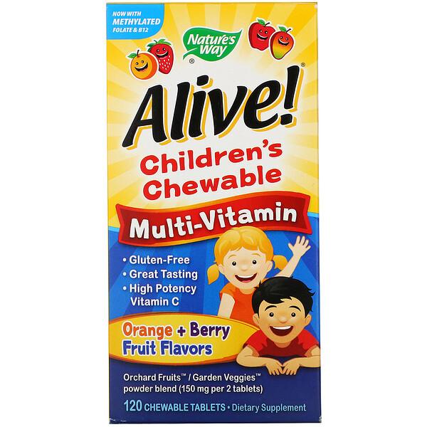 Alive! Детский жевательный мультивитамин, вкус апельсина и ягод, 120 жевательных таблеток