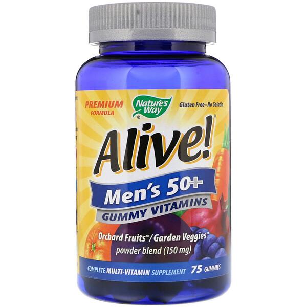 Nature's Way, Alive!, жевательные витамины для мужчин старше 50лет, 75жевательных таблеток