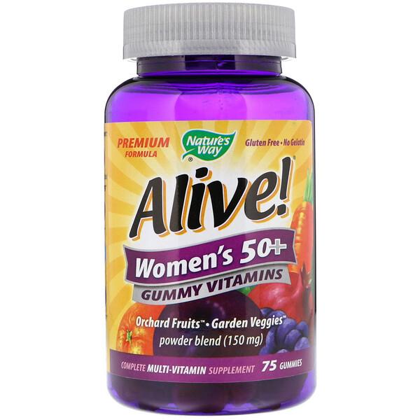 Alive! Жевательные витамины для женщин старше 50 лет, фруктовые вкусы, 75 жевательных конфет