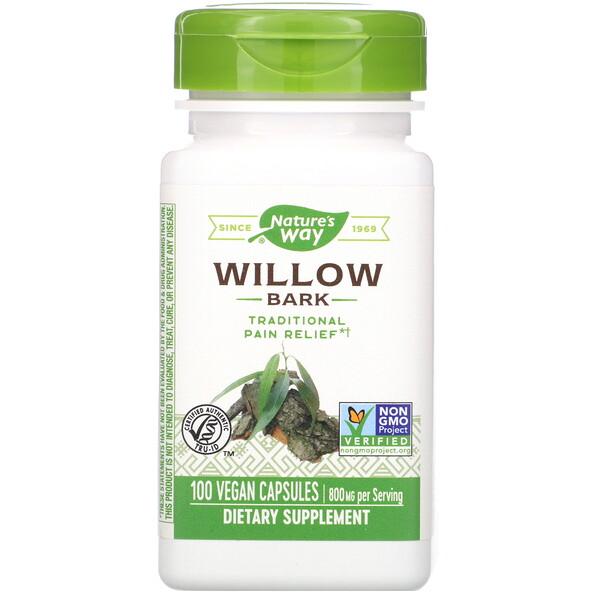 Nature's Way, Willow Bark, 800 mg, 100 Vegan Capsules