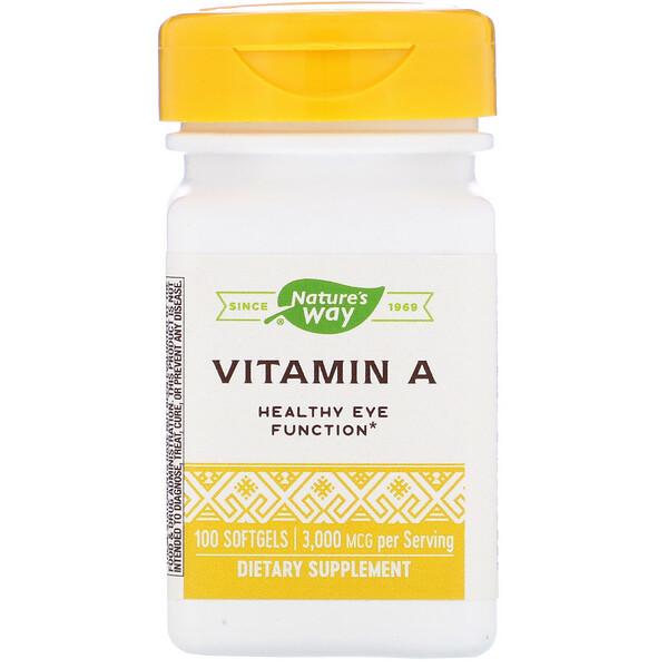 Nature's Way, Витамин А, 3000 мкг, 100 мягких желатиновых капсул