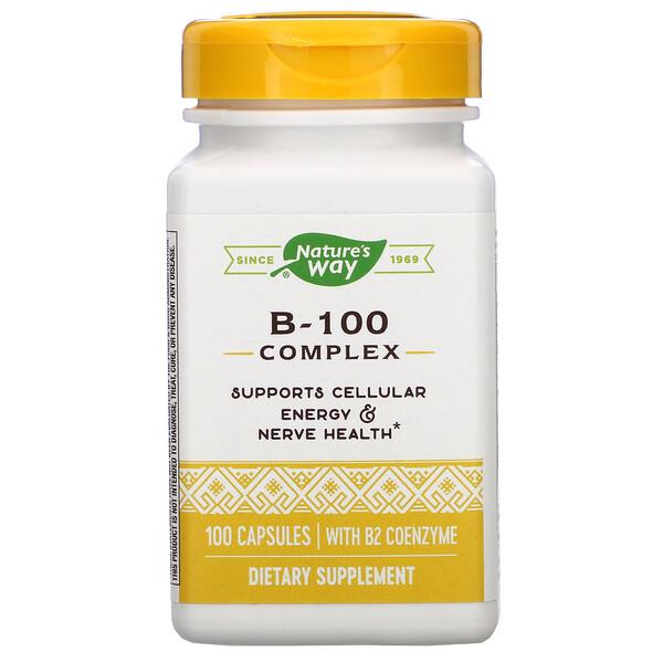 Комплекс B-100, с коэнзимом B2, 100 капсул