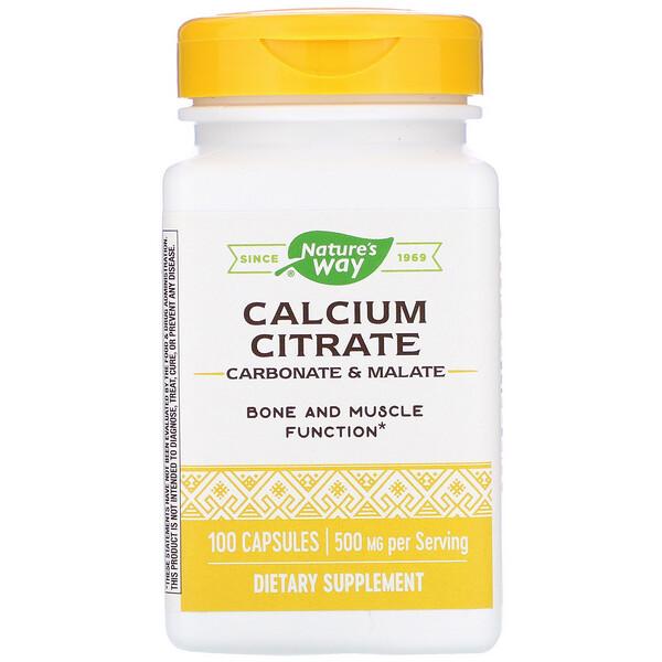 Calcium Citrate, 500 mg, 100 Capsules