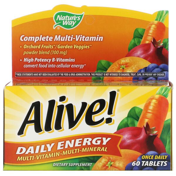 Alive!, Daily Energy (Энергия на каждый день), мультивитаминный и мультиминеральный комплекс, 60 таблеток