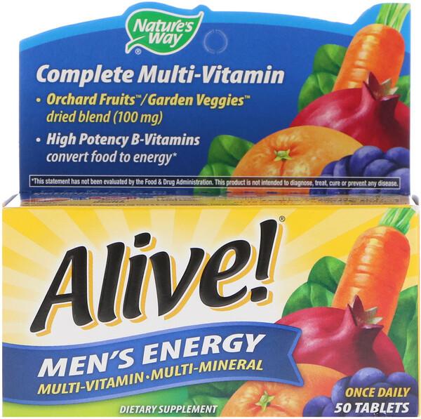 Nature's Way, Alive!, комплекс мультивитаминов и мультиминералов для пополнения запаса энергии мужчин, 50таблеток