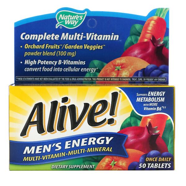 Alive! для мужчин, комплекс мультивитаминов и мультиминералов для пополнения запаса энергии, 50таблеток