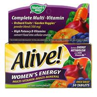Nature's Way, Alive! Комплекс мультивитаминов и мультиминералов для пополнения запаса энергии женщин, 50 таблеток