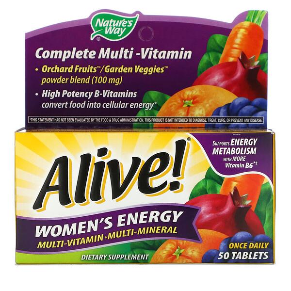 Alive! Комплекс мультивитаминов и мультиминералов для пополнения запаса энергии женщин, 50 таблеток
