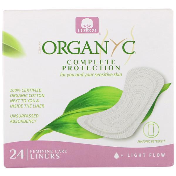 Ежедневные прокладки из органического хлопка, в индивидуальной упаковке, для небольшого объема выделений, 24шт.