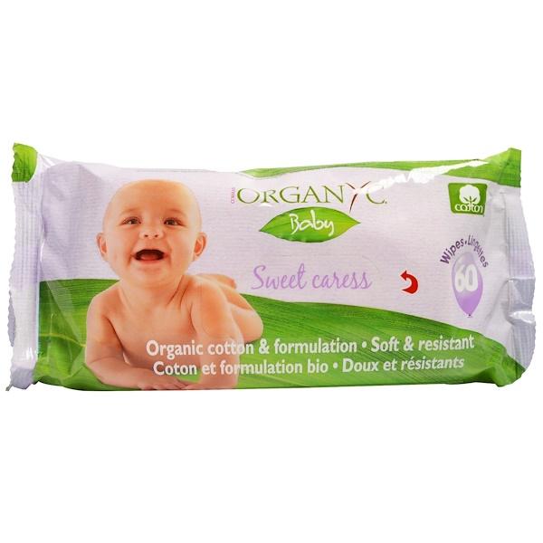 «Сладкая ласка», Детские влажные салфетки из органического хлопка, 60 влажных салфеток