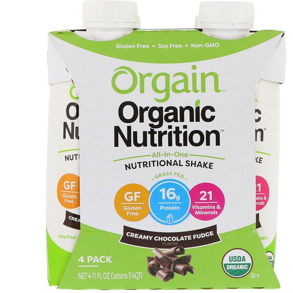 Органическое питание, универсальный питательный  коктейль, сливочно-шоколадный фадж, 4 шт., 11 ж. унц. каждый