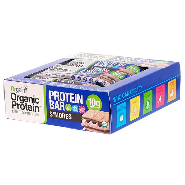 Органический протеиновый батончик на растительной основе, S'mores, 12 батончиков, 40 г (1,41 унции) каждый