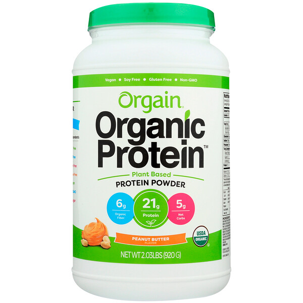 Orgain, Органический протеин в порошке, продукт растительного происхождения, арахисовое масло, 2,03 ф (920 г) (Discontinued Item)