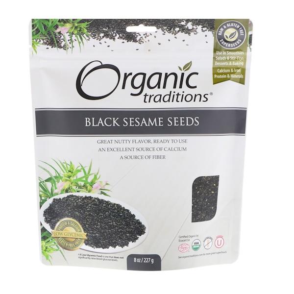 Organic Traditions, Черный кунжут, семена, 8 унций (227 г)