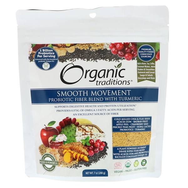 Organic Traditions, Smooth Movement Probiotic Fiber Blend with Turmeric, 7 oz (200 g) (Discontinued Item)