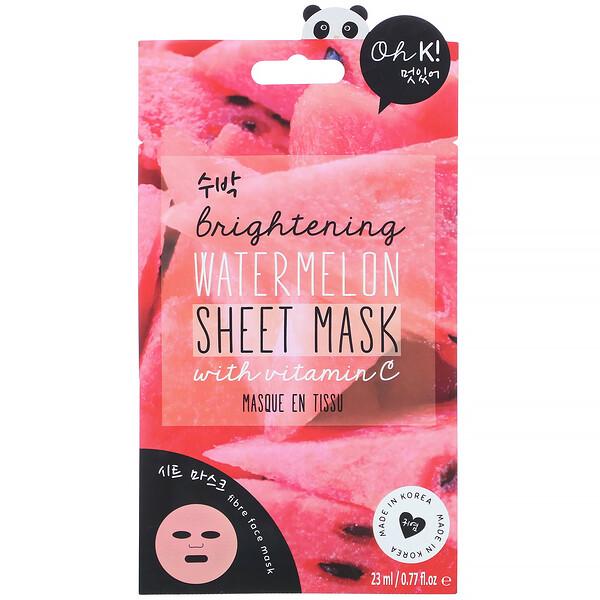 Oh K!, Brightening, Sheet Mask, Watermelon, 1 Sheet, 0.77 fl.oz (23 ml)