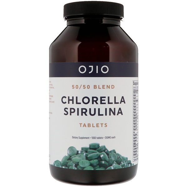 Ojio, Chlorella Spirulina Tablets, 50/50 Blend, 250 mg, 1000 Tablets