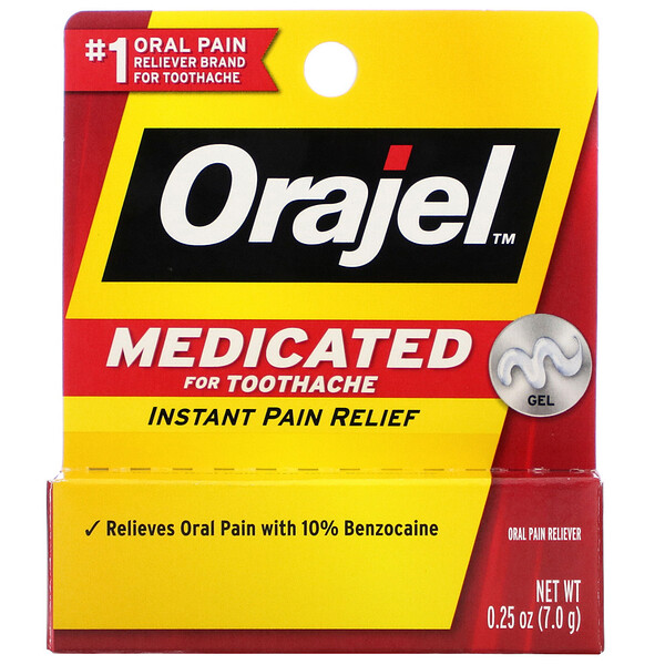 Orajel, Medicated For Toothache, Instant Pain Relief Gel, 0.25 oz (7.0 g)