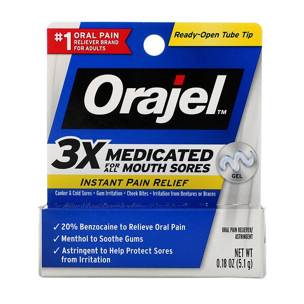 Instant Pain Relief Gel, 3X Medicated For All Mouth Sores, 0.18 oz (5.1 g)